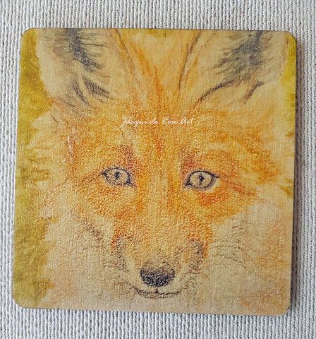 Wooden hand-finished coaster - Fox