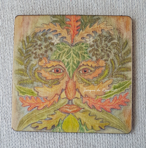 Wooden hand-finished coaster - Green Man