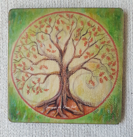 Wooden hand-finished coaster - Tree of Life Oak