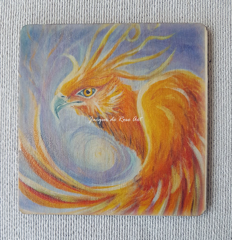 Wooden hand-finished coaster - Phoenix - Out of the Ashes