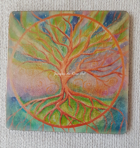 Wooden hand-finished coaster - Tree of Life - Universal Law