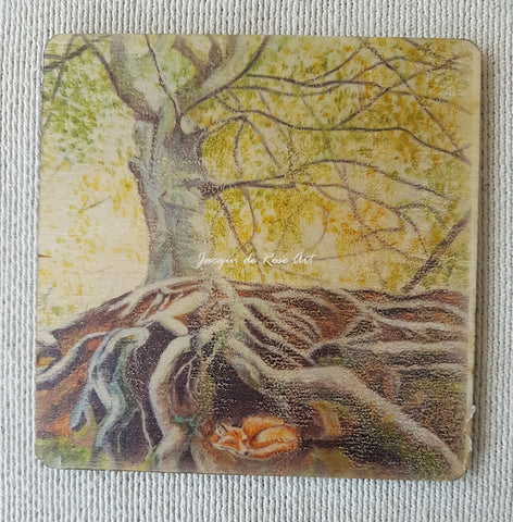 Wooden hand-finished coaster - Whatstandwell Tree