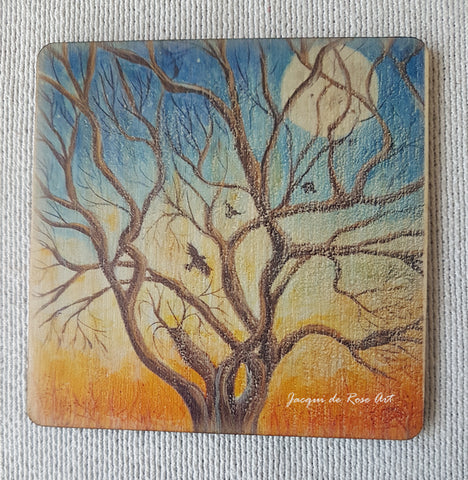 Wooden hand-finished coaster - Winter's dawn