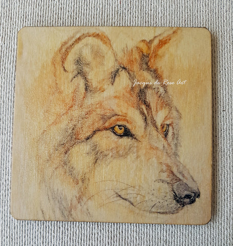 Wooden hand-finished coaster - Wolf