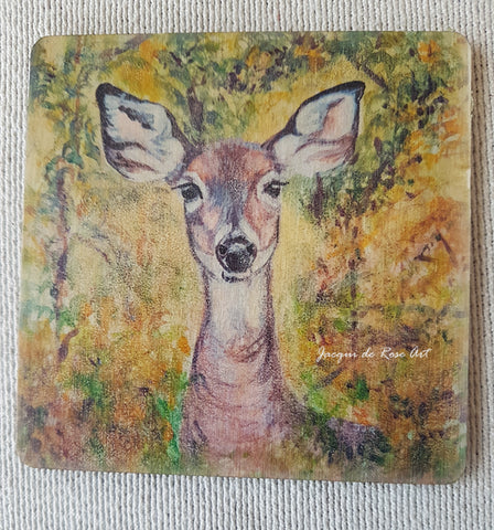 Wooden hand-finished coaster - Woodland Doe