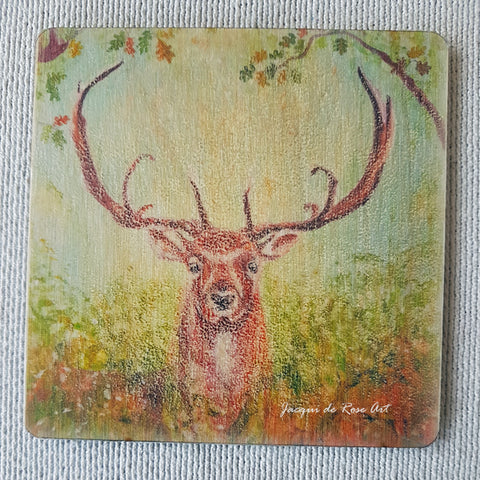 Wooden hand-finished coaster - Woodland Stag
