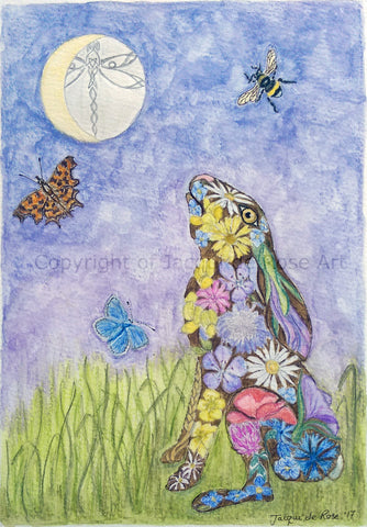 Limited Edition - Signed - Giclee Print -  Floral Moon-gazing Hare