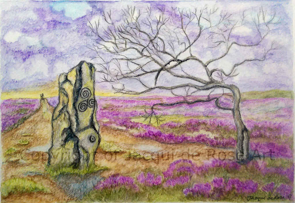 "Card - 7 x 5"" - z - Pagan - Moorland Tree and Standing Stone"