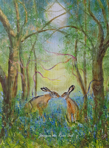 Limited Edition - Signed - Giclee Print  - Totem Animals - Hand fasting Hares
