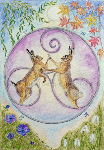 Limited Edition - Signed - Giclee Print -  Celtic Hares
