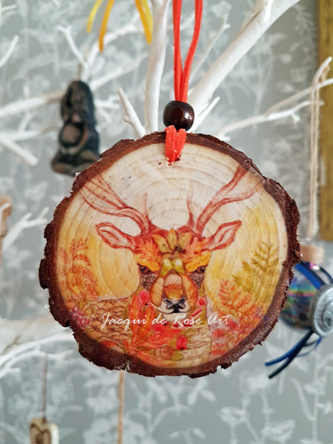 Decorative Wood Totem Pendant - Floral Stag