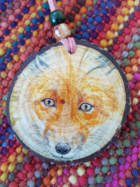 Decorative Wood Totem Pendant - Fox