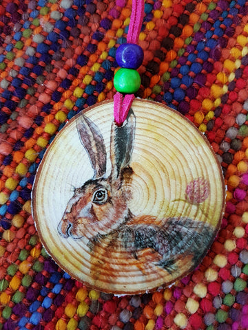Decorative Wood Totem Pendant - Hare