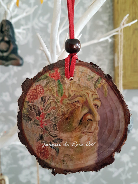 Decorative Wood Totem Pendant - The Holly King - Green Man