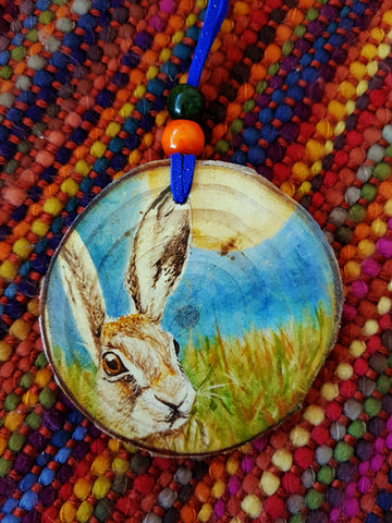 Decorative Wood Totem Pendant - Litha Hare