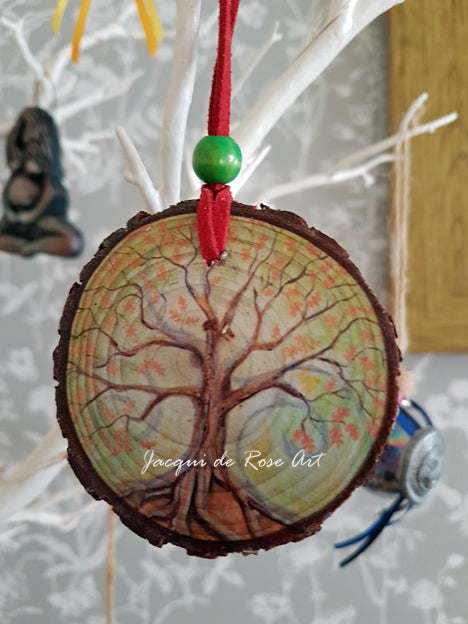 Decorative Wood Totem Pendant - T - Tree of Life Oak