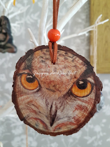 Decorative Wood Totem Pendant - Owl