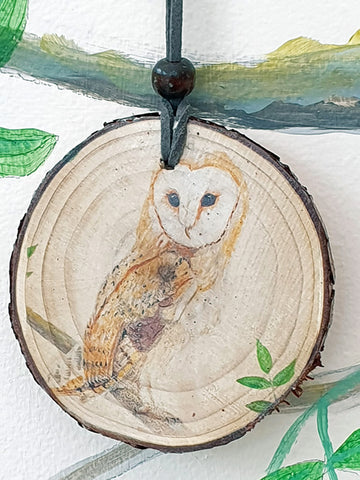 A - Decorative Wood Totem Pendant Offering - Barn owl