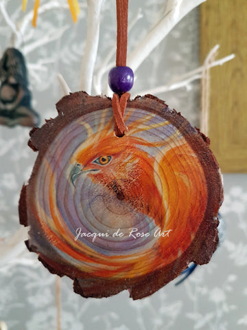 Decorative Wood Totem Pendant - Phoenix