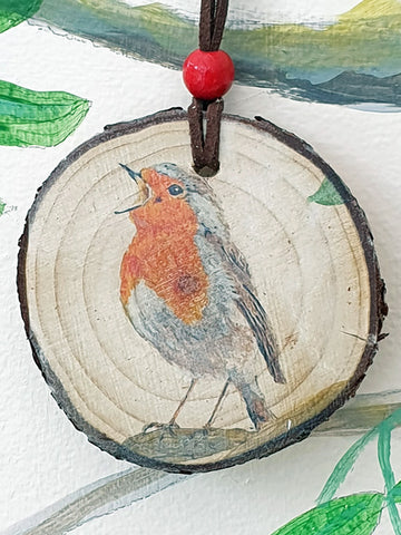 A - Decorative Wood Totem Pendant Offering - Robin