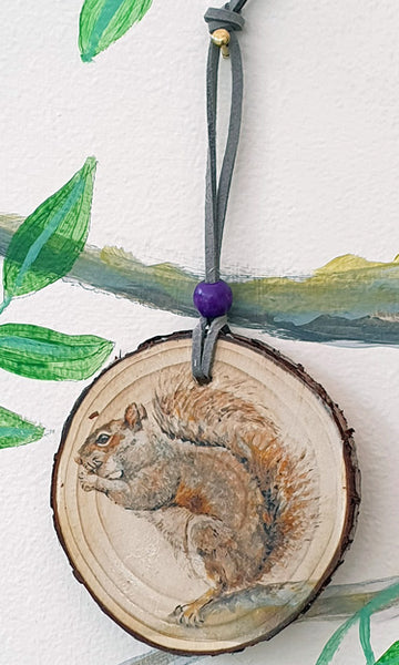 A - Decorative Wood Totem Pendant Offering - Squirrel