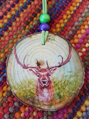 Decorative Wood Totem Pendant - Woodland Stag
