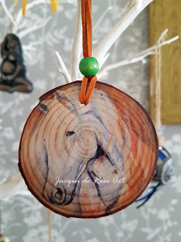 Decorative Wood Totem Pendant - White Horse