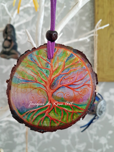 Decorative Wood Totem Pendant - T - Tree of Life Universal Law