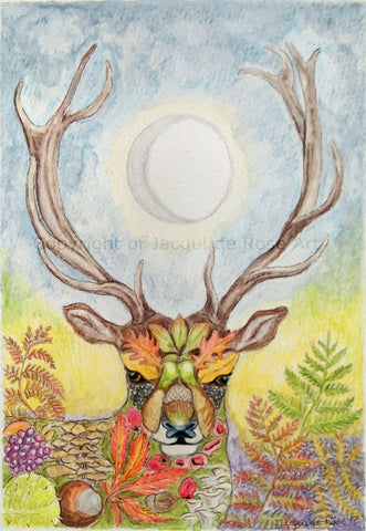 "Card - 7 x 5"" - Pagan - Floral Stag"