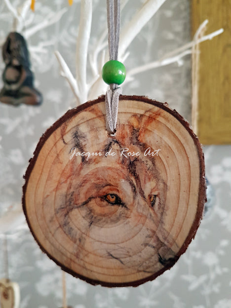 Decorative Wood Totem Pendant - Wolf