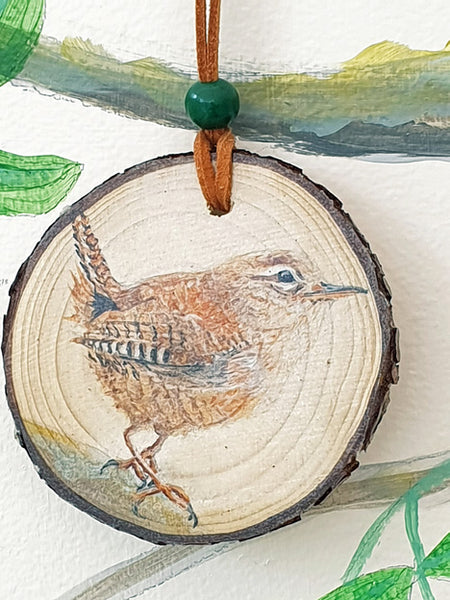 A - Decorative Wood Totem Pendant Offering - Wren