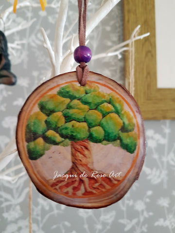 Decorative Wood Totem Pendant - T - Tree of Life Yew