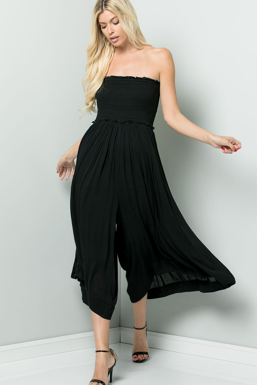 Smock Tube top Jumpsuit - Black