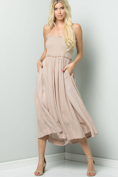 Smock Tube top Jumpsuit - Stone