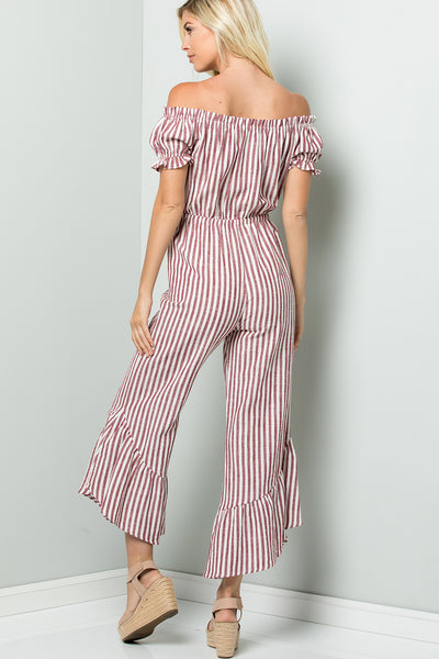 Off Shoulder Striped Jumpsuit - Burgundy