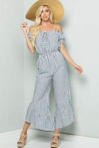 Off Shoulder Striped Jumpsuit - Navy
