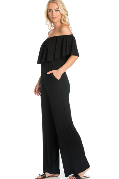 Ruffled Off Shoulder Jumpsuit - Black
