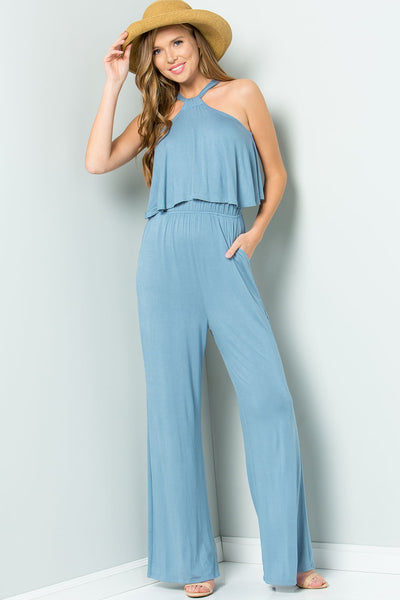 Halter Back Ties Jumpsuit - Chambray