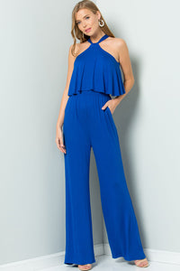 Halter Back Ties Jumpsuit - Cobalt
