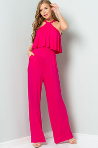 Halter Back Ties Jumpsuit - Fuchsia