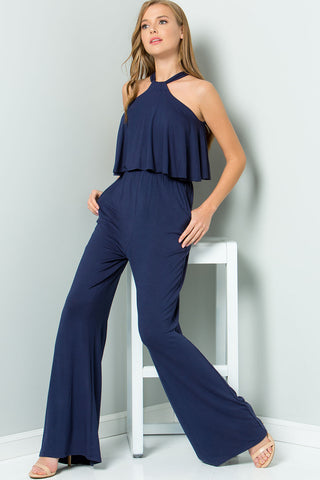 Halter Back Ties Jumpsuit - Navy