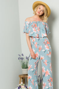Floral Ruffled Off-Shoulder Jumpsuit - Blue