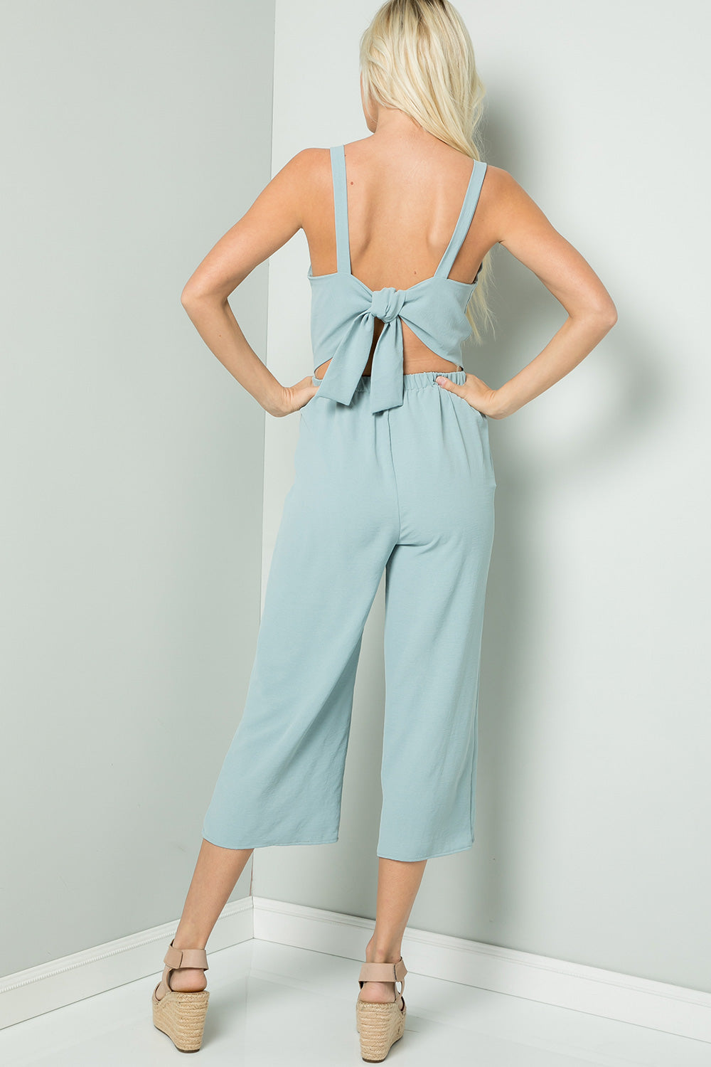 Tie-Back Cami Jumpsuit - Blue Rain