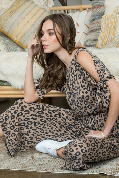 Tie Sleeve Leopard Print Jumpsuit - Brown