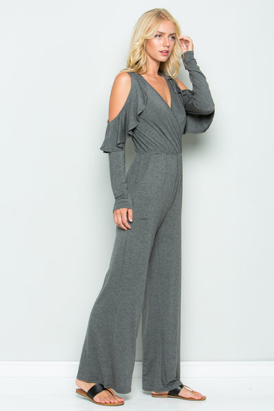 Cold-Shoulder Jumpsuit - Heather Grey