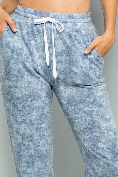 Tie Dye Print Jogger Pants - Ink Blue