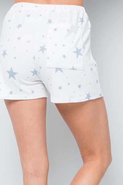 Star Print Soft Jersey Shorts
