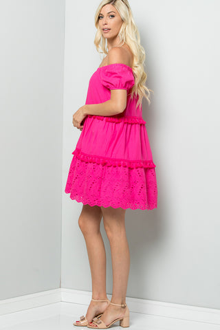 Off Shoulder Eyelet Dress - Fuchsia