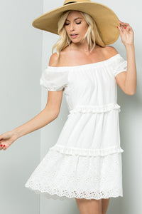 Off Shoulder Eyelet Dress - Ivory