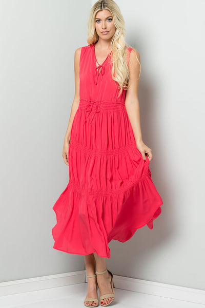 Elastic Smocking Midi Dress - Hot Pink